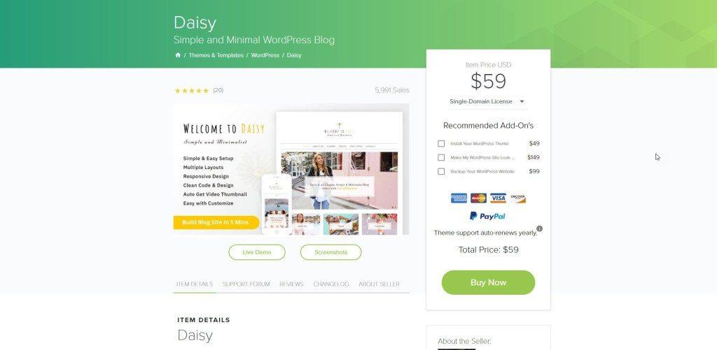 Daisy Simple and Minimal WordPress Blog